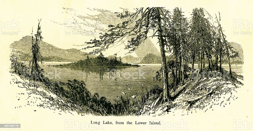 Long Lake, New York vector art illustration
