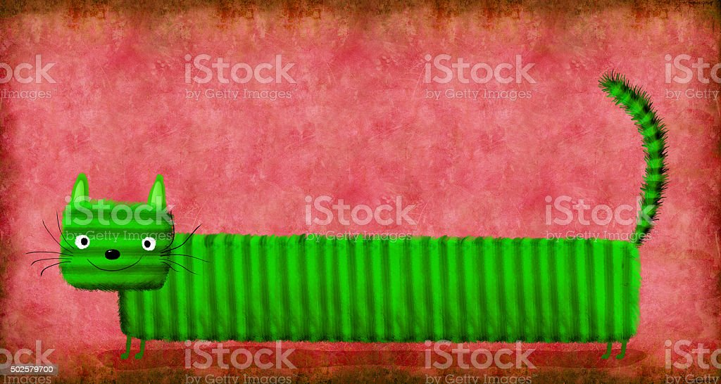 Long Striped Green Cat on Pink Background vector art illustration
