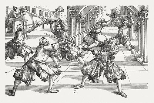 Long Sword Fighting By Joachim Meyer Published In 1876 Stock