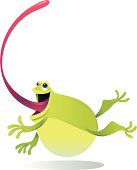 vector illustration of long tongue leaping frog.