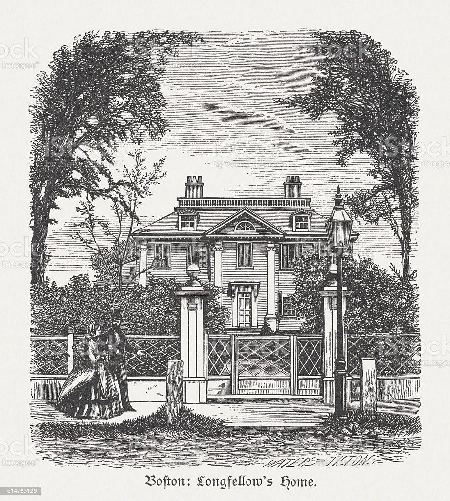 Longfellow House, Cambridge, Massachusetts, USA, wood engraving, published in 1880 vector art illustration
