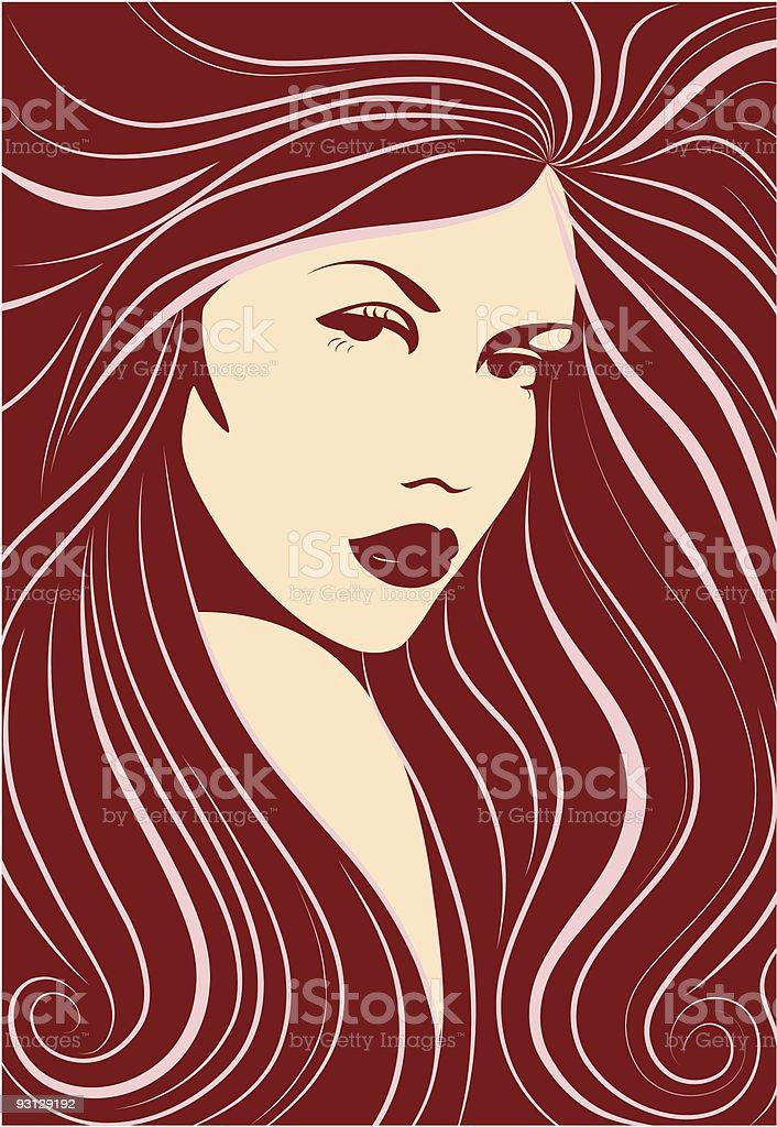 Long-haired sexy girl. Vector illustration. vector art illustration