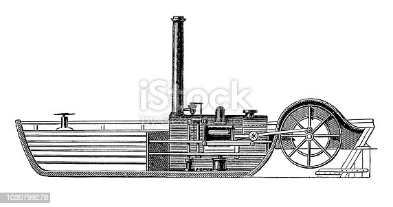 Illustration of a Longitudinal section of the steamboat 'Charlotte Dundas' built by William Symington (1763-1831) a Scottish engineer and inventor