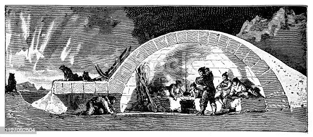 Illustration of a Longitudinal section through an igloo (winter habitation) of the Eskimo