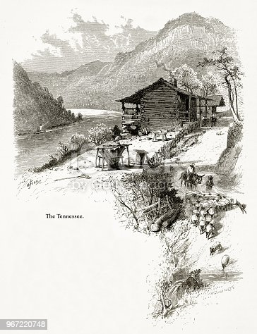 Very Rare, Beautifully Illustrated Antique Engraving of Lookout Mountain and the Tennessee River, Tennessee, United States, American Victorian Engraving, 1872. Source: Original edition from my own archives. Copyright has expired on this artwork. Digitally restored.