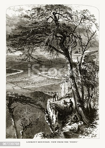 """Very Rare, Beautifully Illustrated Antique Engraving of Lookout Mountain, View from the """"Point,"""" Tennessee, United States, American Victorian Engraving, 1872. Source: Original edition from my own archives. Copyright has expired on this artwork. Digitally restored."""