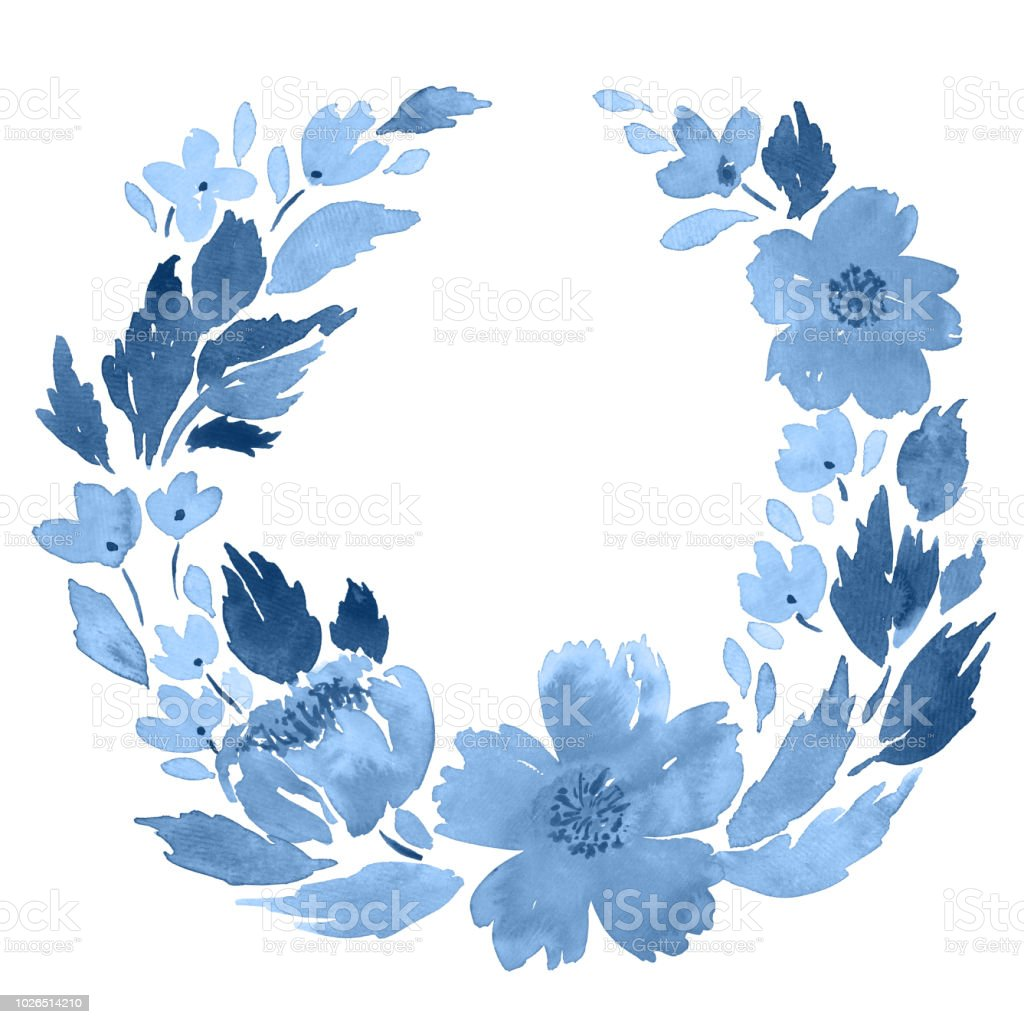 Loose watercolor floral wreath in indigo blue flowers and leaves loose watercolor floral wreath in indigo blue flowers and leaves arrangement template royalty free izmirmasajfo