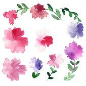 Loose watercolor florals.
