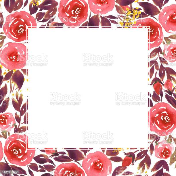 Hand-Painted Rose Frame