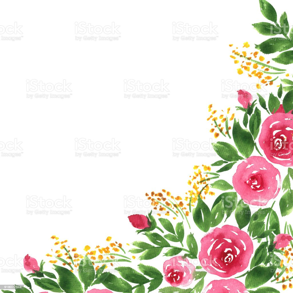 loose watercolor flowers hand painted template with roses and leaves