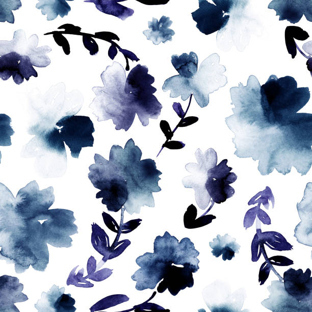 Loose watercolor flowers in blue and indigo. Seamless hand-painted print. Allover watercolor pattern. shabby chic stock illustrations