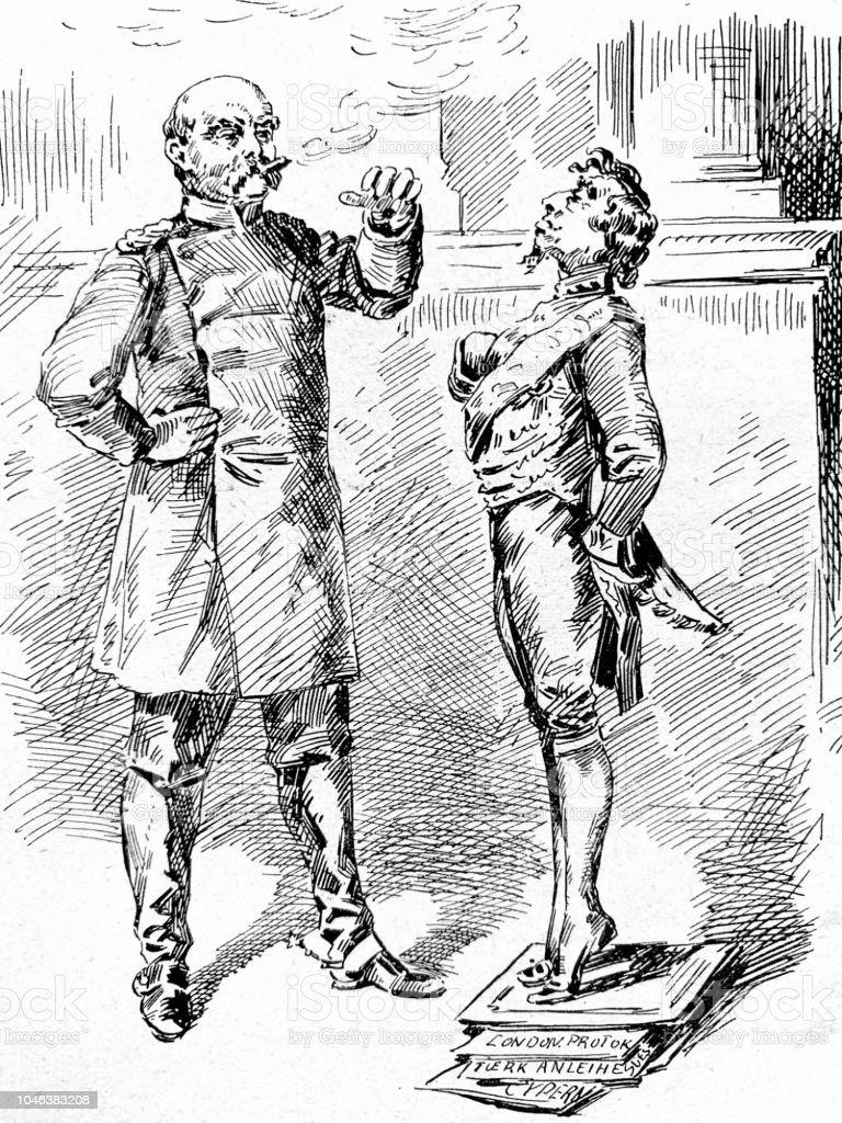 Lord Beaconsfield cartoon at the Vienna congress - Illustrazione stock royalty-free di 1890-1899