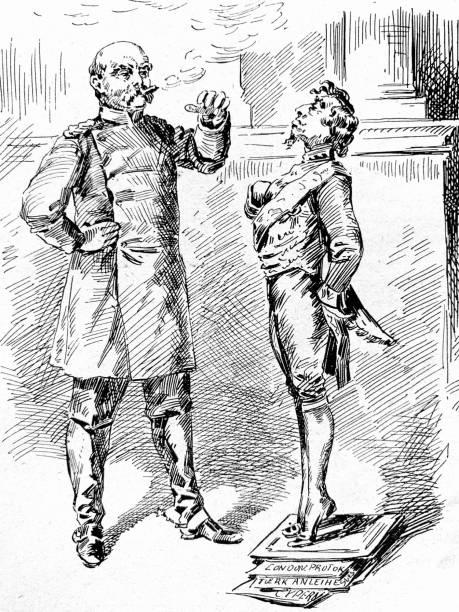 illustrazioni stock, clip art, cartoni animati e icone di tendenza di lord beaconsfield cartoon at the vienna congress - vienna congress