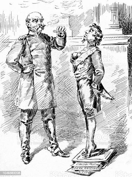 Lord Beaconsfield Cartoon At The Vienna Congress - Immagini vettoriali stock e altre immagini di 1890-1899