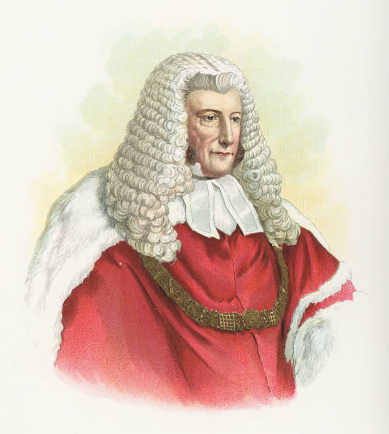 Lord Chief Justice John Campbell, 1st Baron Campbell - 19th Century Portrait of Lord Chief Justice John Campbell, 1st Baron Campbell. Vintage halftone etchings circa mid 19th century. chief justice stock illustrations