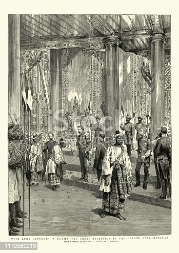 Vintage engraving of Lord Dufferin in Burma, Great reception in the throne hall, Mandalay, 1886
