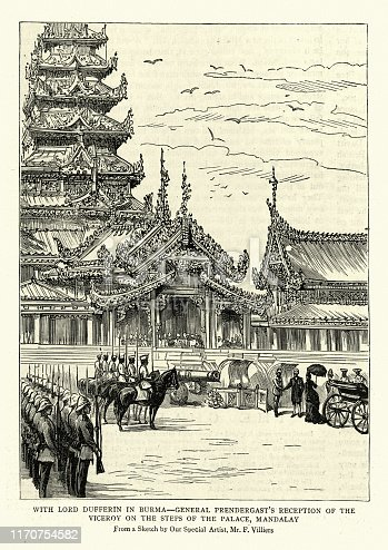 Vintage engraving of Lord Dufferin outside Palace, Mandalay, Burma, 19th Century. General Prendergast's reception of the Viceroy