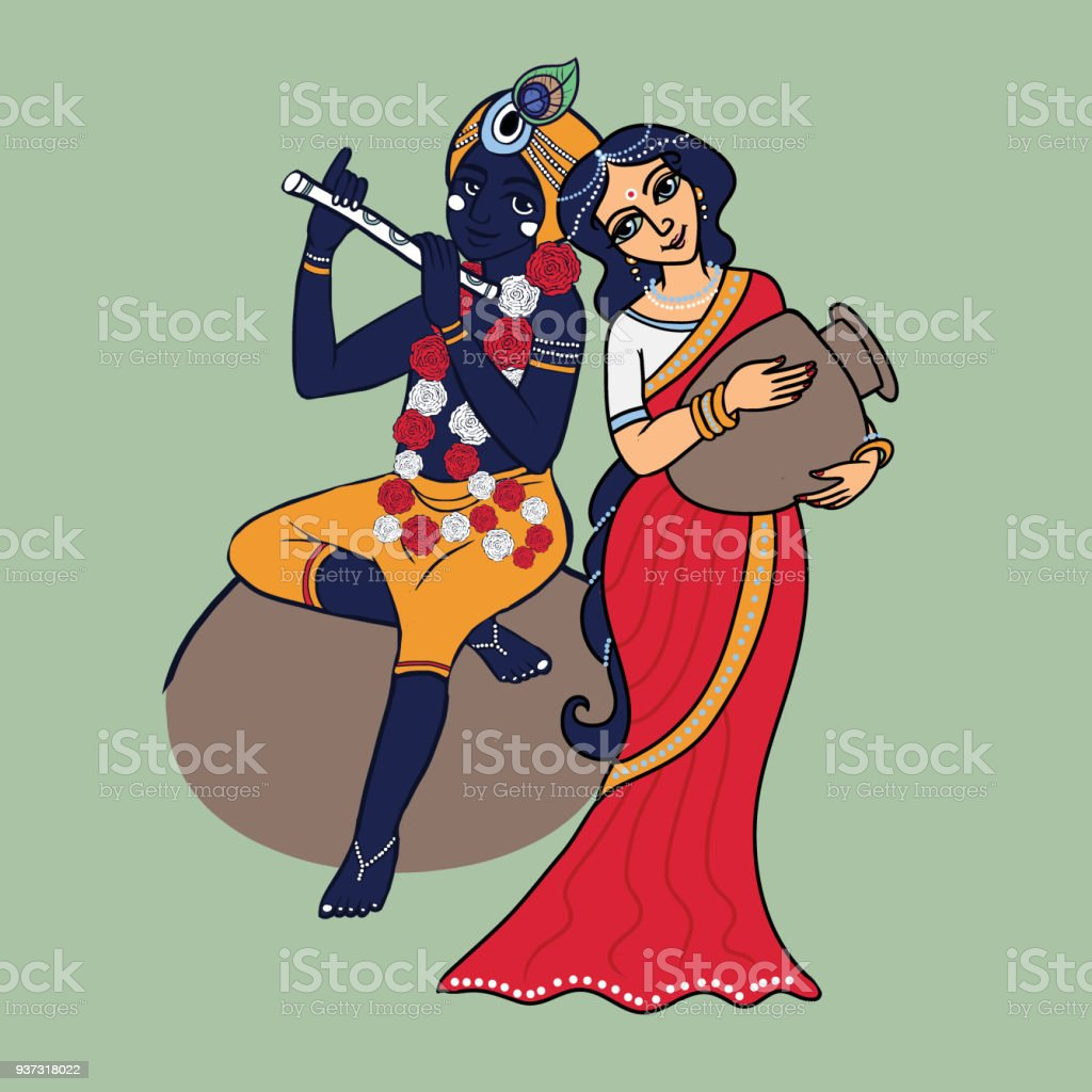 Lord Krishna With Radha Stock Illustration - Download Image
