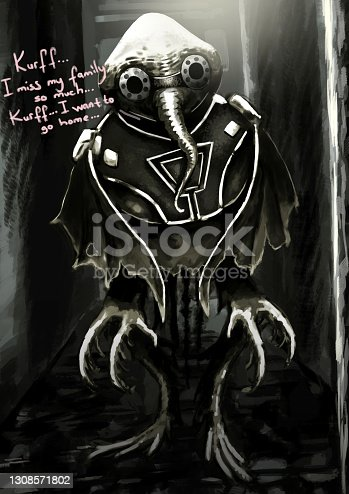 istock Lost Alien Illustration, Dark Scenic Dramatic Feature, Science-Fiction, Creature 1308571802