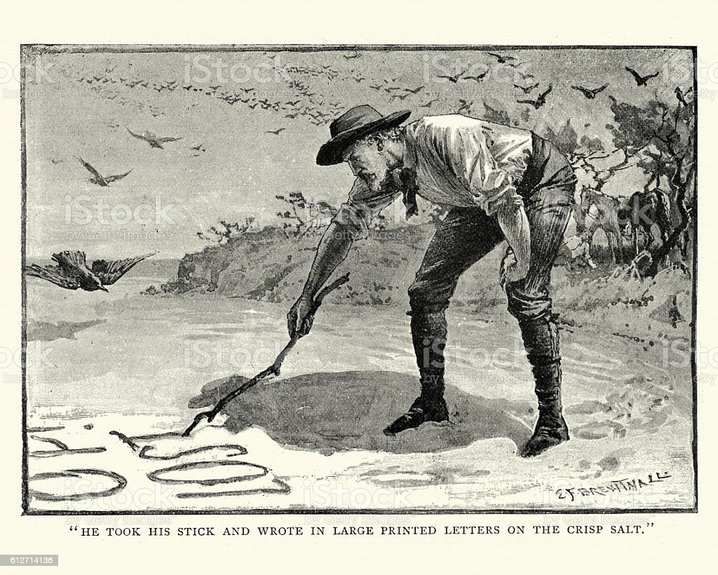 Lost in the Australian bush, 19th Century vector art illustration