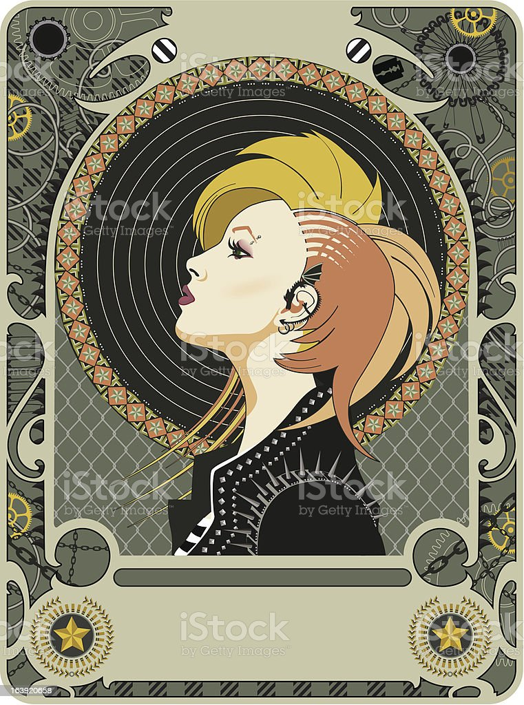 Mucha Revival vector art illustration