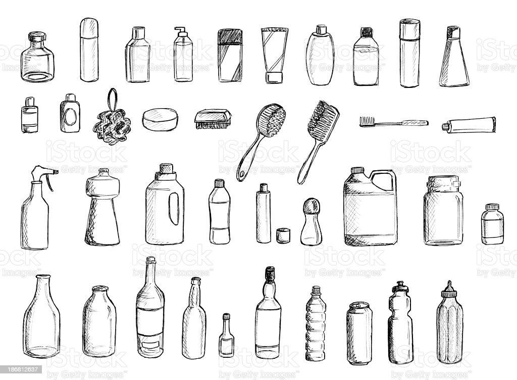 Viele Flaschen und Pinsel – Vektorgrafik