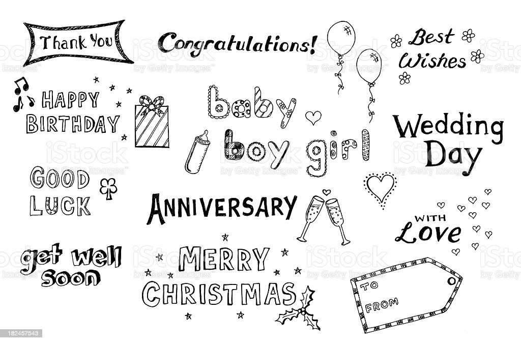 Lots of hand drawn greetings royalty-free stock vector art