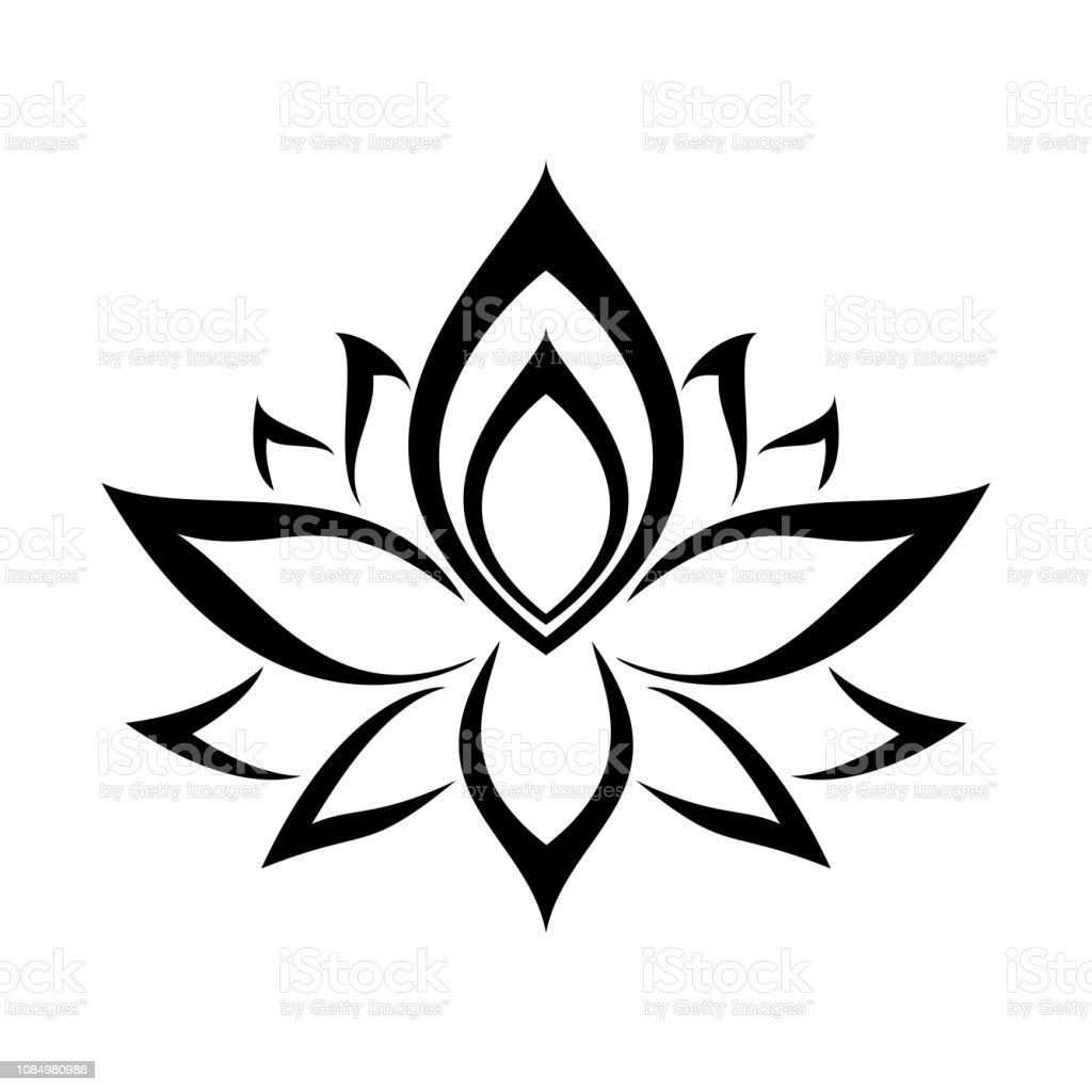 Fleur De Lotus Noir Isolé Sur Fond Blanc Ethnique Orientale