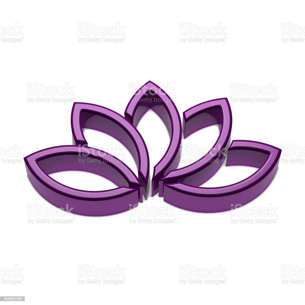 Lotus Flower Logo. 3D Render Illustration vector art illustration
