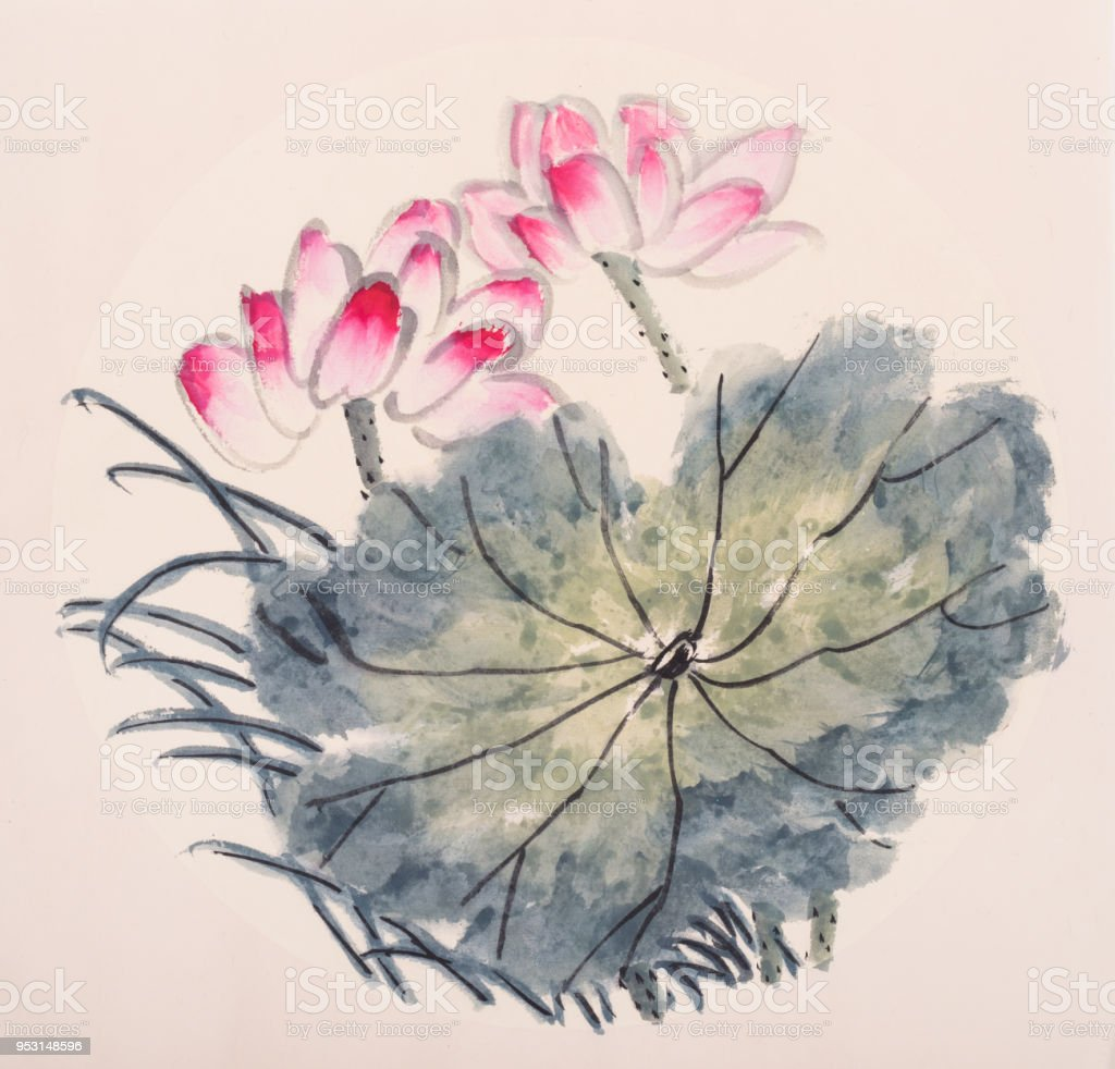 d9972e80d Lotus flowers hand drawn with ink,chinese watercolor painting royalty-free lotus  flowers hand
