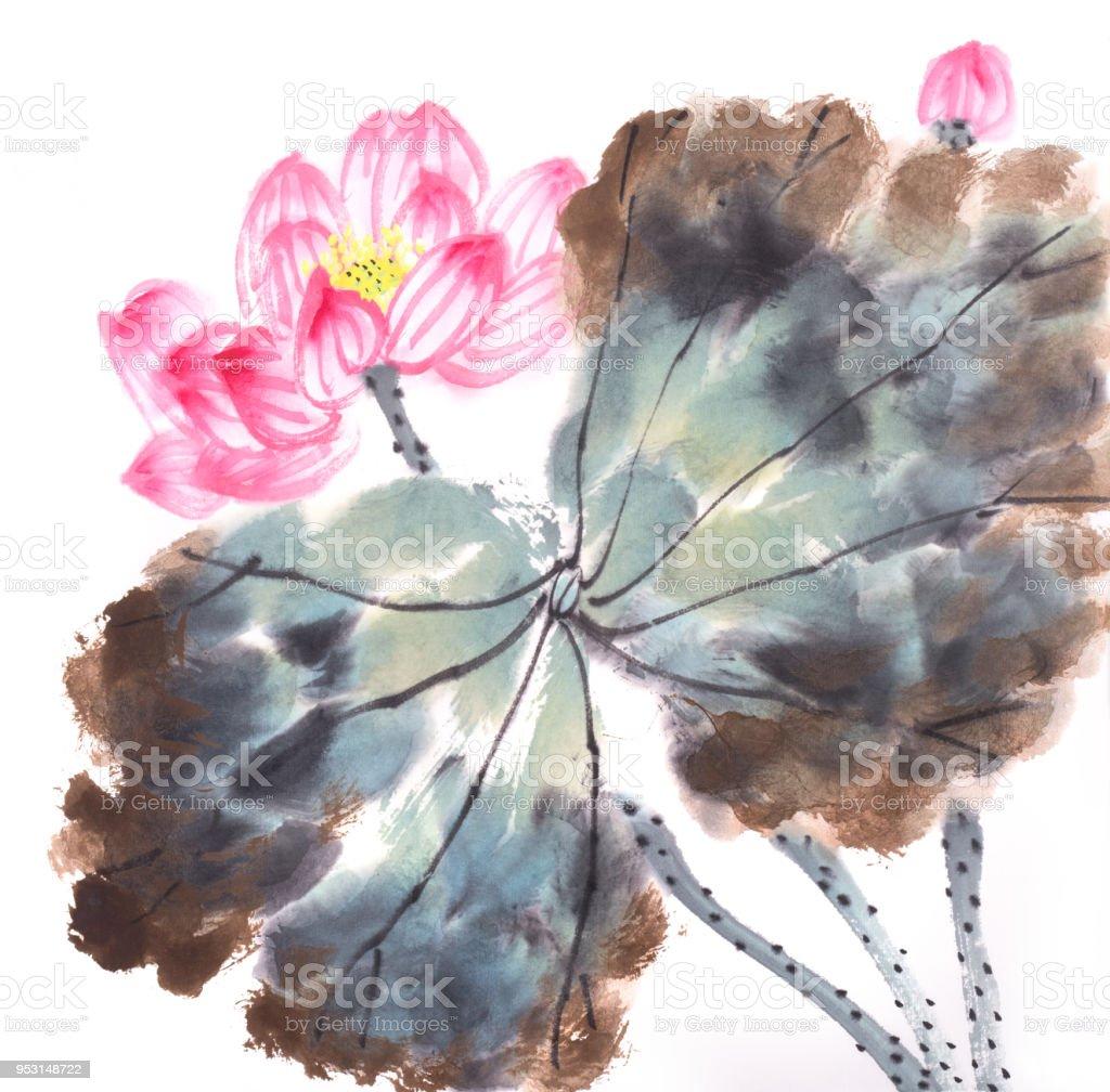 Lotus flowers hand drawn with inkchinese watercolor painting stock lotus flowers hand drawn with inkchinese watercolor painting royalty free lotus flowers hand izmirmasajfo
