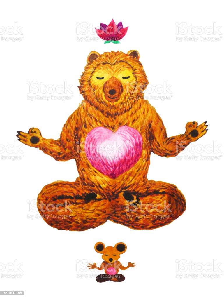 Ilustración de Lotus Yoga Pose Acuarela Chakra Energía Lindo Oso ...