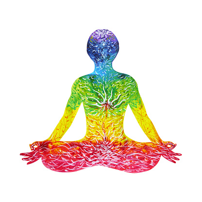 lotus pose yoga with mudra hand watercolor painting