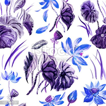 525031854 istock photo Lotus seamless pattern, print in blue and violet colors 1222842237