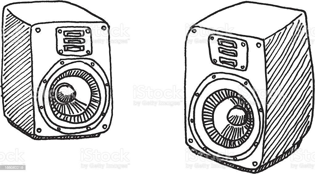 Loudspeaker Pair Sketch vector art illustration