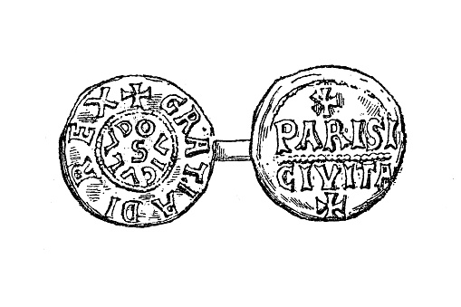 Illustration of a Louis IV coin, called d'Outremer or Transmarinus (both meaning
