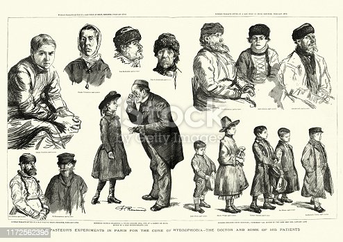 Vintage engraving of Louis Pasteur treating patients for rabies (hydrophobia), 1886, 19th Century.  English children from Bradford, Yorkshire, All bitten by the same mad dog.  Swithenbank Turner