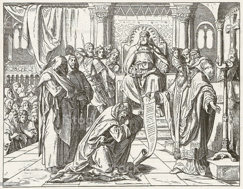 Louis the Pious (778-840), wood engraving, publidshed in 1881 vector art illustration