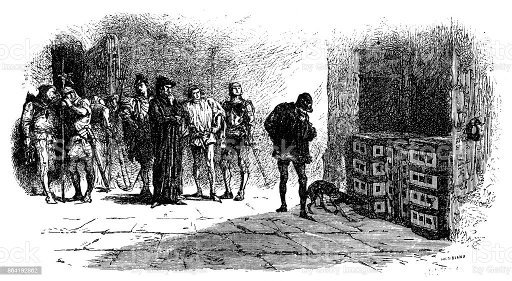 Louis XI visiting Cardinal Balue in the Iron Cage royalty-free louis xi visiting cardinal balue in the iron cage stock vector art & more images of archival