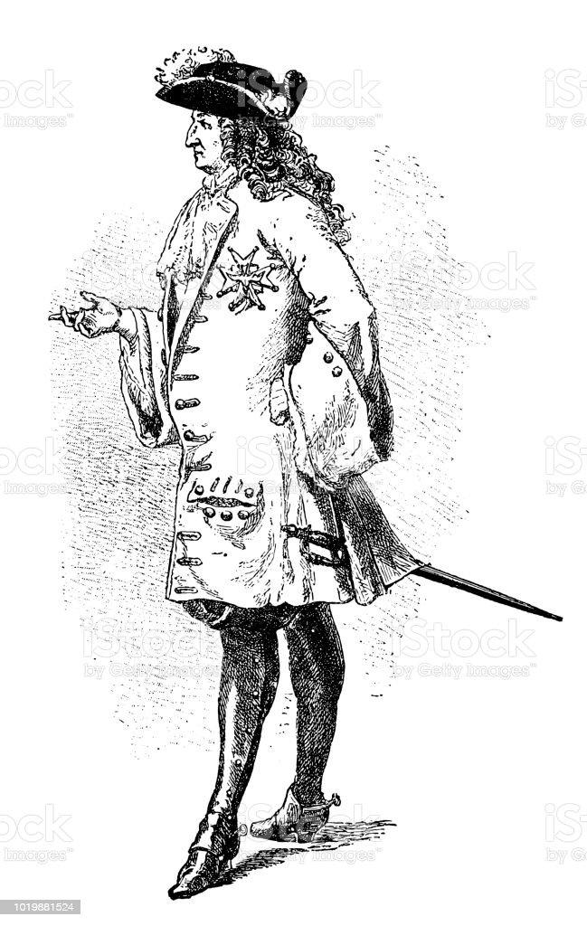 Louis XIV of France vector art illustration