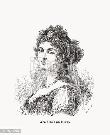 Duchess Louise of Mecklenburg-Strelitz (1776 - 1810), Queen consort of Prussia and the wife of King Frederick William III. Wood engraving after a painting (1802) by Elisabeth Louise Vigée Le Brun (French painter, 1755 - 1842), published in 1893.