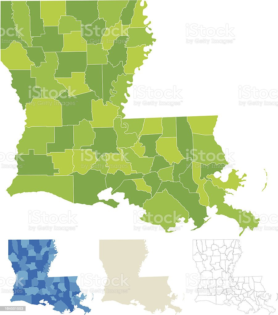 Louisiana County Parish Map vector art illustration