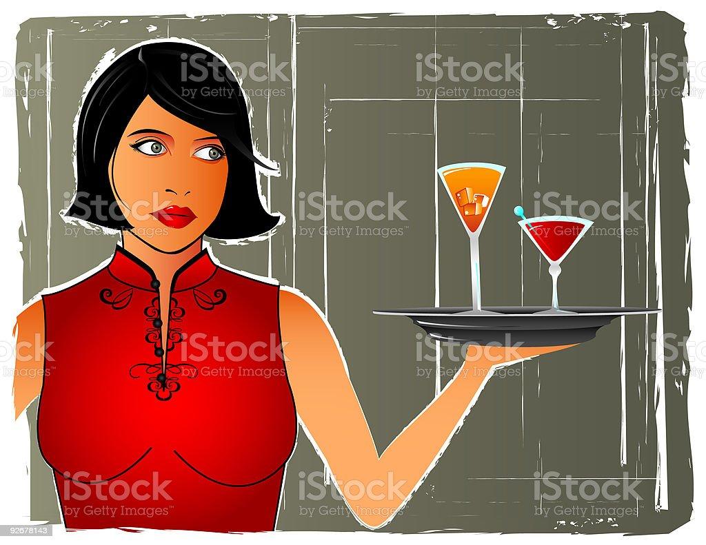 Lounge Waitress royalty-free stock vector art