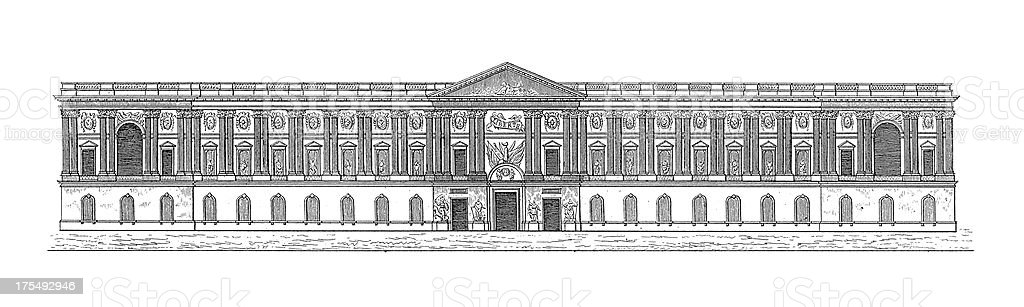 Louvre Palace, Paris, France   Antique Architectural Illustrations royalty-free louvre palace paris france antique architectural illustrations stock vector art & more images of architecture