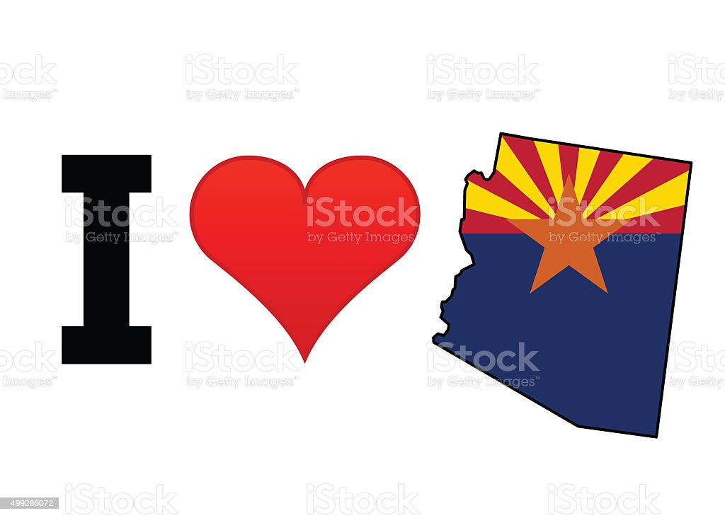 I Love Arizona vector art illustration