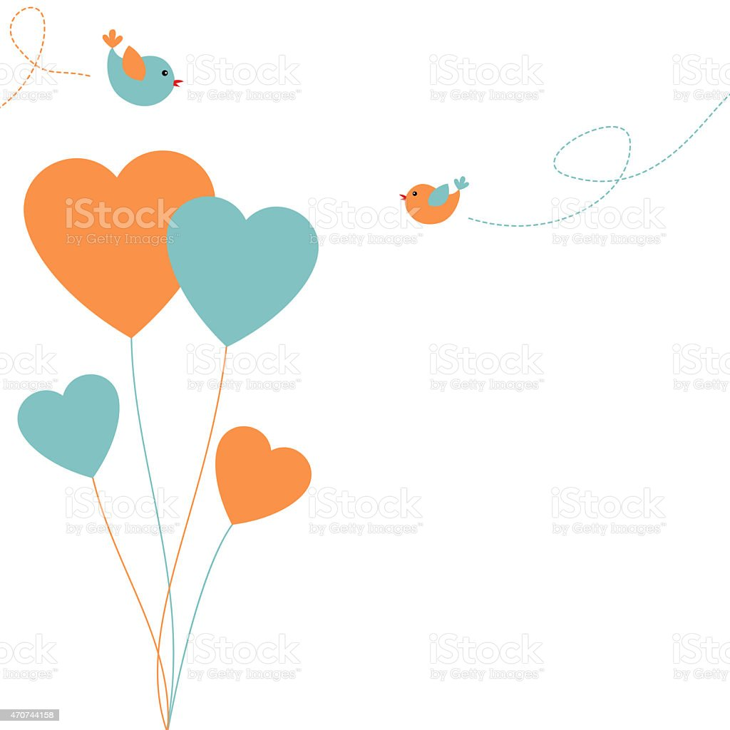 Love Birds card vector art illustration