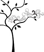 Silhouette tree with two love birds