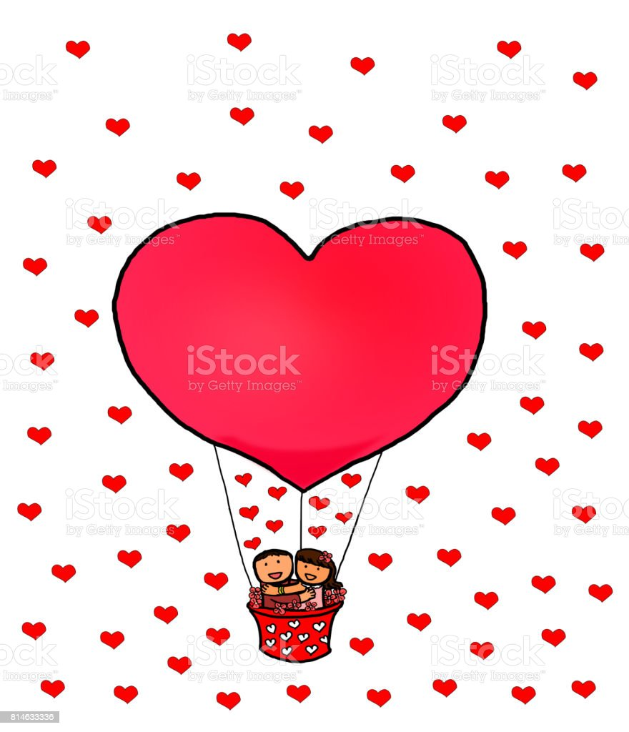 Globos De Corazon Rojo De Amor Pareja Feliz San Valentin Arte