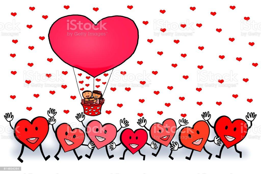 Ilustracion De Globos De Corazon Rojo De Amor Pareja Feliz San