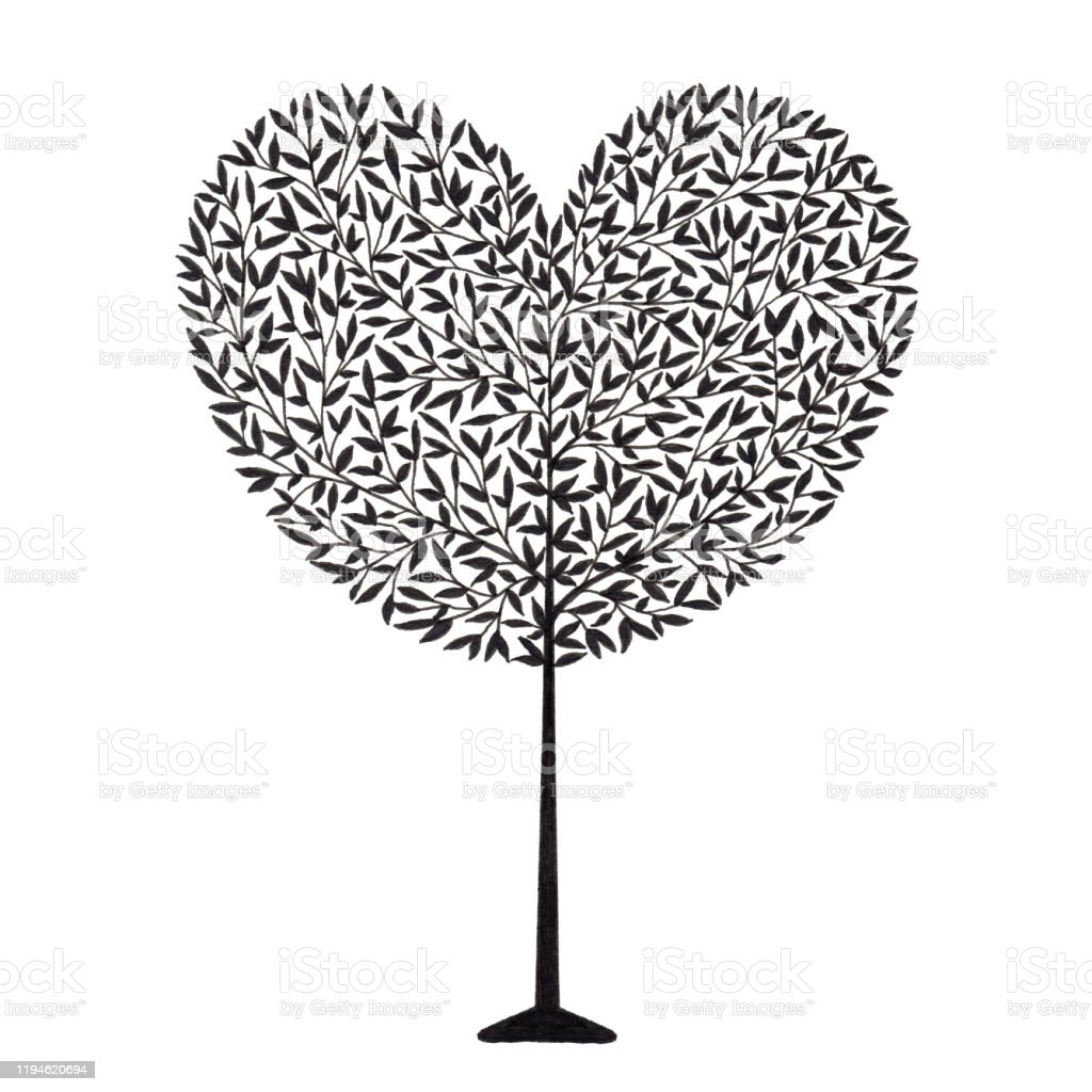 Love Heart Tree Drawing Using Ink Pen In Silhouette Style For